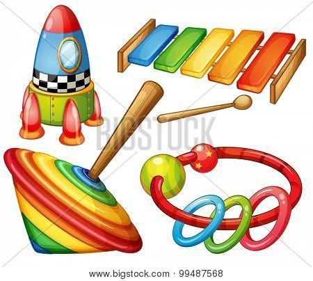 Colorful wooden toys set illustration