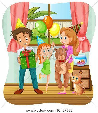 Family having birthday party illustration
