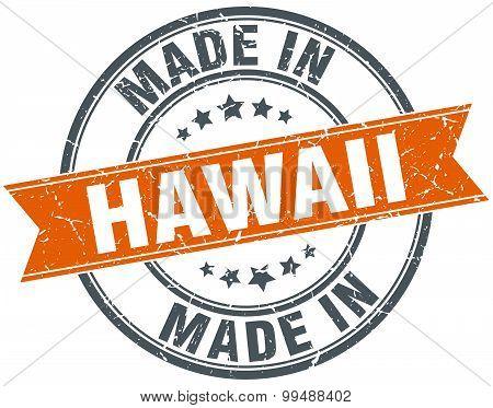 Hawaii Orange Grunge Ribbon Stamp On White