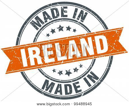 Ireland Orange Grunge Ribbon Stamp On White