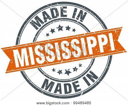 Mississippi Orange Grunge Ribbon Stamp On White