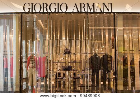 Front View Of Giorgio Armani Store In Siam Paragon Mall. Bangkok, Thailand