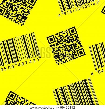 Barcode And Qr-code. Seamless Vector Wallpaper.