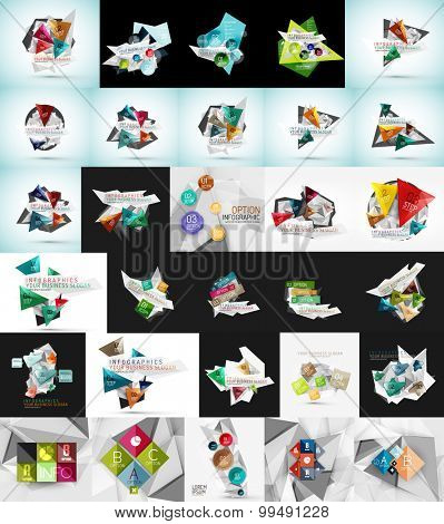 Mega set of abstract geometric web banner decorations. Vector illustration