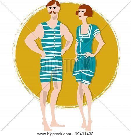 Couple In Swimwears. Retro Style. Art Deco.