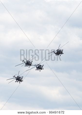 Golden Eagles Aerobatic Team In Flight