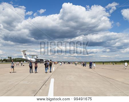 Many People And Tourists To The Airfield Kubinka