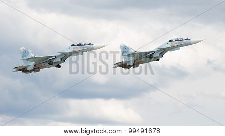 Military Su-30 Flying At An Airshow