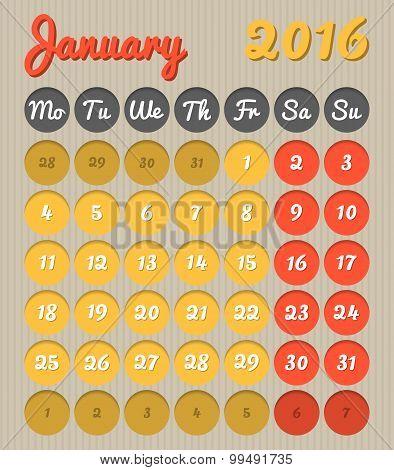 Month Planning Calendar - January 2016
