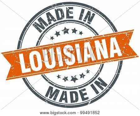 Louisiana Orange Grunge Ribbon Stamp On White