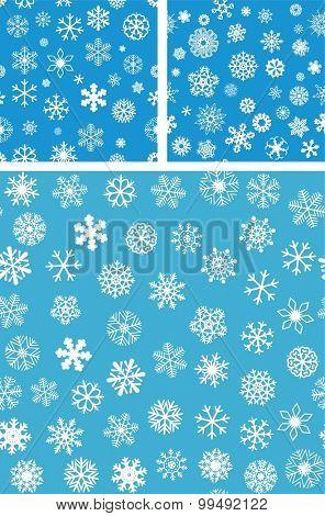 3 Snowflakes Seamless Background set