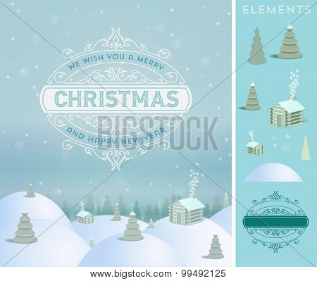 Merry Christmas holidays wish greeting card and vintage background. Retro and ornament decoration.