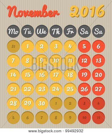 Month Planning Calendar - November 2016