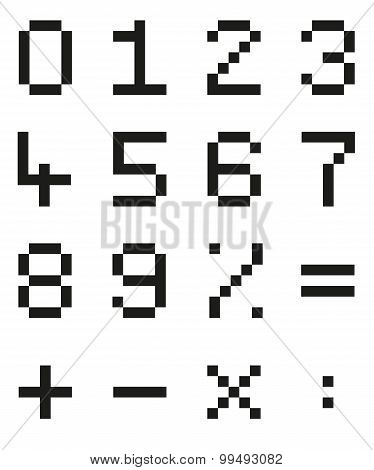 Collection Of Isolated Pixel Numbers And Mathematical Signs