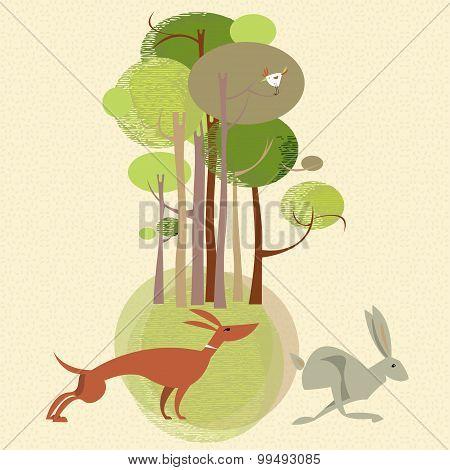 Landscape. Dog Chases A Rabbit.