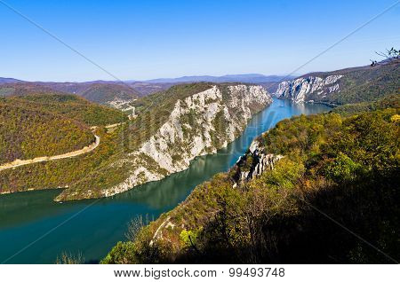 2000 feets of vertical cliffs over Danube river at Djerdap gorge and national park