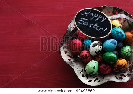Quail Eggs And Happy Easter Greeting - Easter Decoration