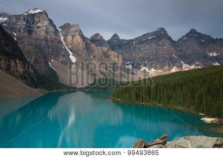 Beautiful Moraine Lake In The Evening Light