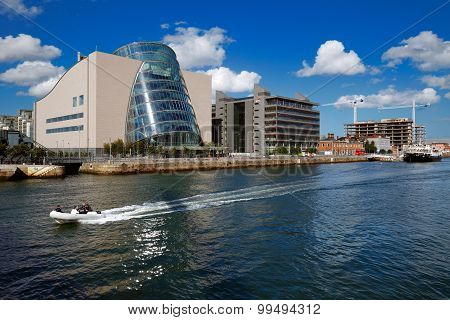 North bank of the river Liffey at Dublin City Center with Dublin Convention Center (CCD)