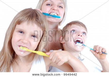 People Cleaning Teeth
