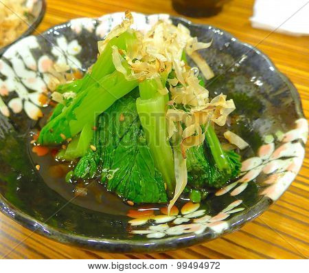 Chinese kale with dried bonito flakes
