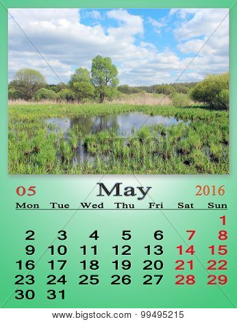 calendar for May 2016 on the background of spring