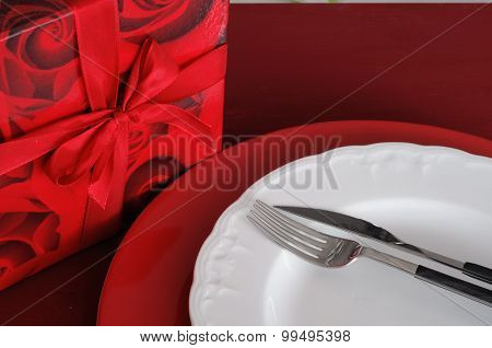 Romantic Dinner Setting With Gift Box