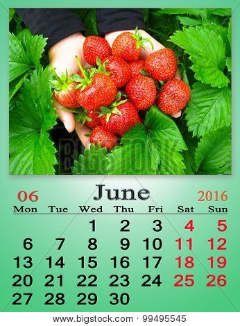 calendar for June 2016 with ripe strawberry