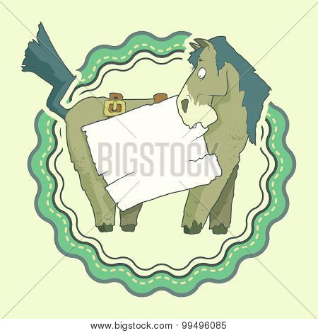 Hand Drawn Label of Character Horse with wooden poster Isolated on plain Background. Vector.