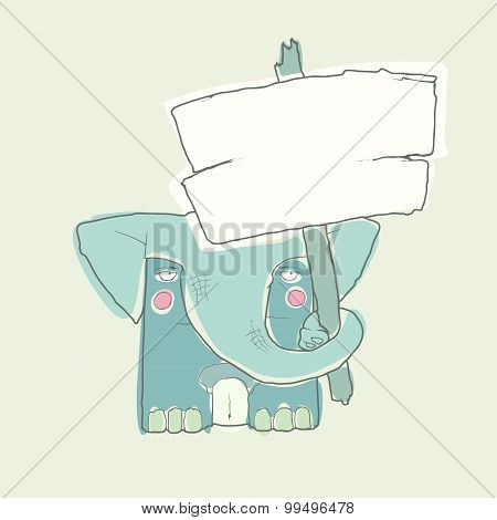 Cartoon Character Elephant with wooden poster Isolated on White Background. Vector.