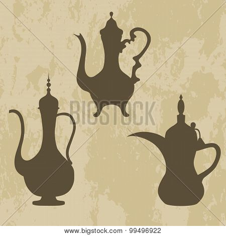 a jug of old Arabic, Arabic coffee pots