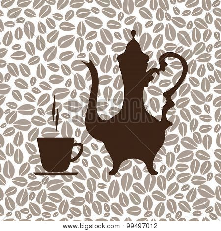 Arabic coffeepot and a Cup of coffee