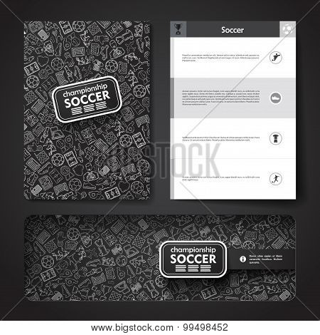 Vector template with hand drawn doodles soccer theme.
