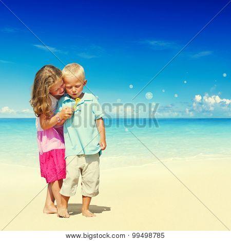 Summer Beach Family Fun Enjoyment Children Concept