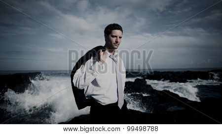 Businessman Relaxation Confusion Coastline Vacation Concept
