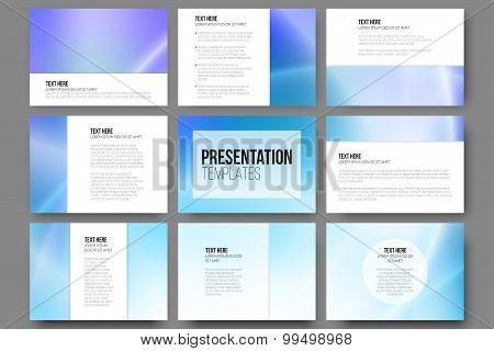 Set of 9 vector templates for presentation slides. Blue abstract design background