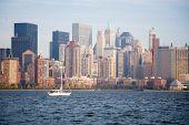 New York City Skyline In Sunset poster