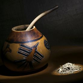 stock photo of calabash  - Traditional calabash gourd and yerba mate still life light brush technique - JPG