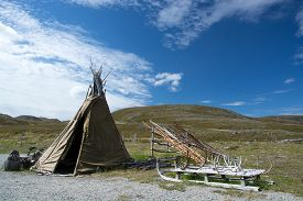 picture of tipi  - Mageroya is a large island in Finnmark county in the extreme northern part of Norway - JPG