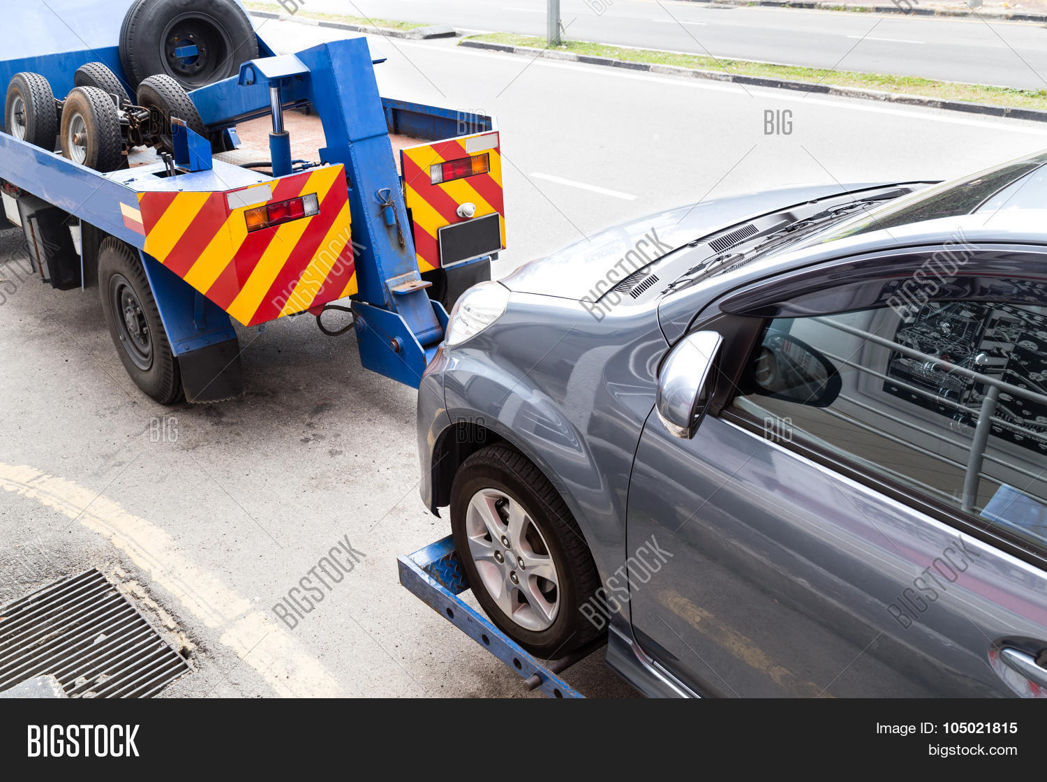 tow truck towing broken down car on image photo bigstock. Black Bedroom Furniture Sets. Home Design Ideas