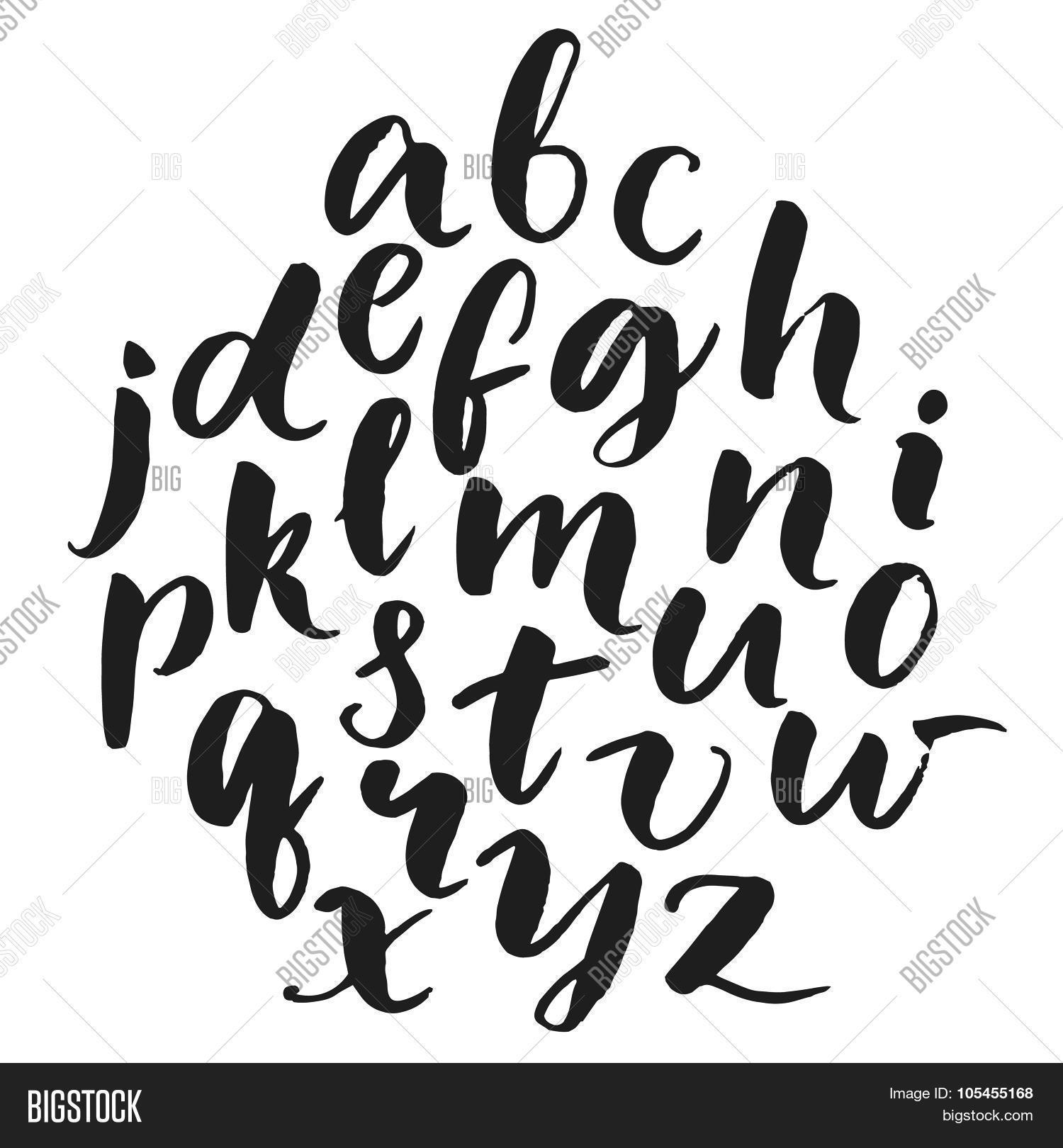 Typography poster with lowercase english alphabet at round