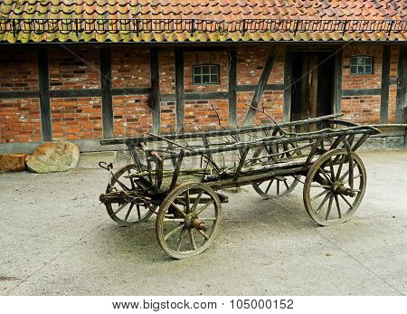 The Old Wagon In Barnyard Next At Barn