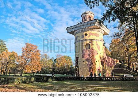 Tsarskoye Selo (Pushkin). Saint-Petersburg. Russia. The Tower Ruin in the Catherine Park