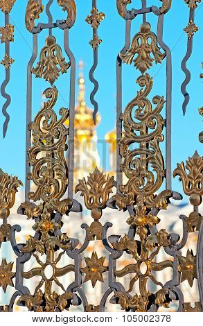 Tsarskoye Selo (Pushkin). Saint-Petersburg. Russia. The Railing of the Catherine Palace