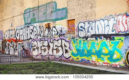 Street Art, Urban Wall With Graffiti Text Pattern