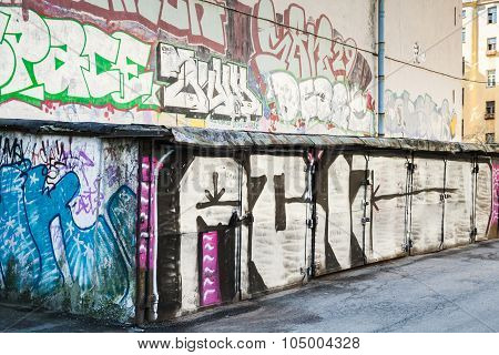 Street Art, Garages With Grungy Graffiti Patterns