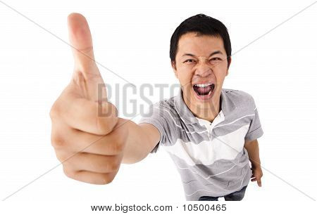 young man gives his thumbs up