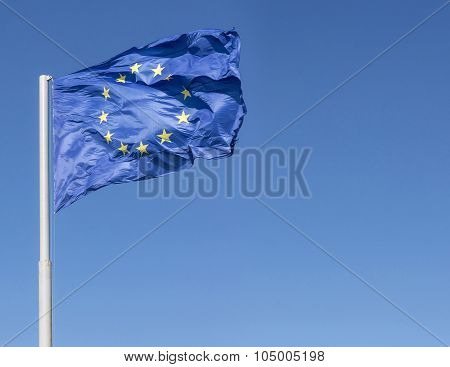 European Union Flag Blown Alone By The Wind