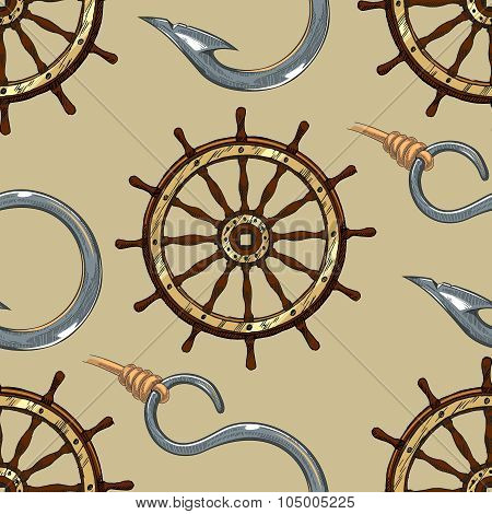 Ship wheel and hook seamless pattern