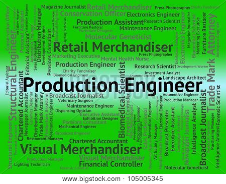 Production Engineer Represents Text Construction And Words